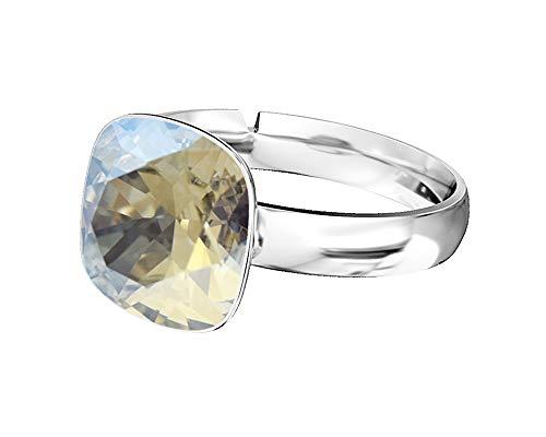 Beforya Paris - 925 Sterling Silver Ring - with SQUARE Swarovski - Moonlight - 925 Sterling Silver Ladies Ring Size Adjustable