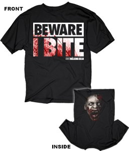 The Walking Dead Beware I Bite Costume Official Licensed AMC Adult T-shirt