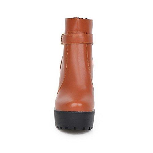 AllhqFashion Damen Niedrig-Spitze Reißverschluss Lackleder Hoher Absatz Rund Zehe Stiefel Gelb