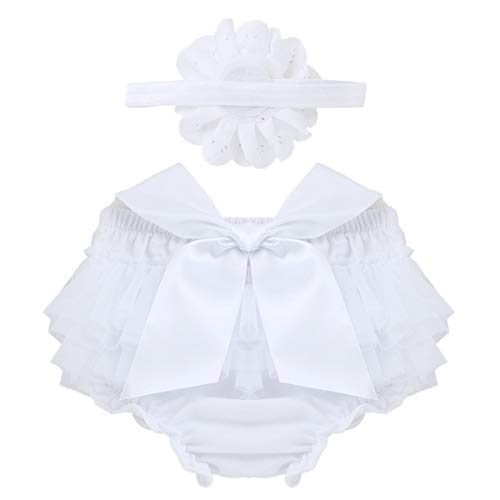 FEESHOW Infant Baby Girls Bow-Knot Tulle Ruffle Bloomers Shorts Diaper Cover with Flower Headband Set Photography Outfit White 0-6 Months -