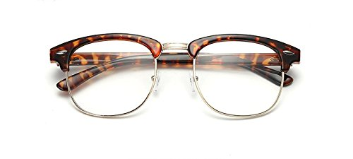 New Vintage Classic Half Frame Semi-Rimless Wayfarer Clear Lens Glasses - Vintage Wayfarers
