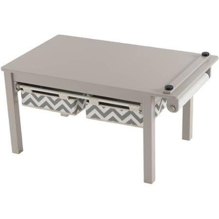 Linon Durable Desin Kids' Activity Table Solid Wood Construction, Attractive Gray Finish with Chevron-patterned Drawers - Linon Solid Wood