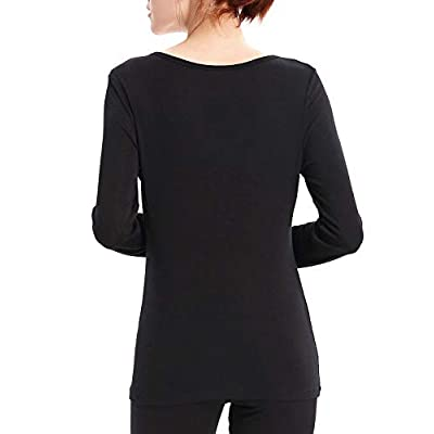 LIQQY Women's Ultra Thin Scoop Neck Long-Sleeve Thermal Underwear Shirt Top at Women's Clothing store