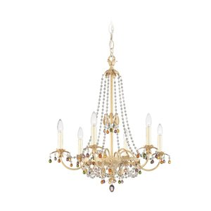 Light Ceiling Adagio (Schonbek 5103-35SJ Adagio 6 Light Single Tier Chandelier in Golden Birch with Soft Jewel Tones crystal)