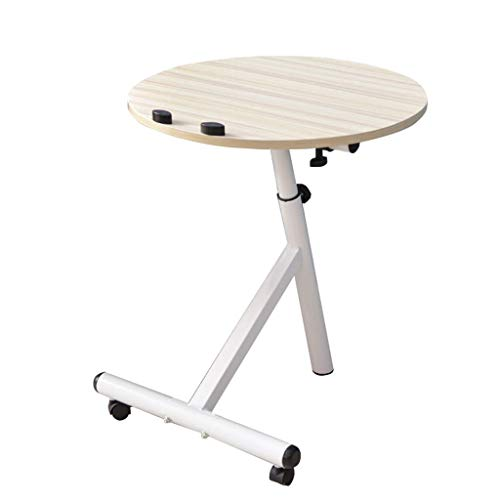 XD Series by KMC Wheels Dongy Portable Removable Laptop Stand Desk Cart Round Computer Desk Workstation,Adjustable Height,60° Swivel and 180° Tilt,Lockable Casters (Color : White Maple Color)