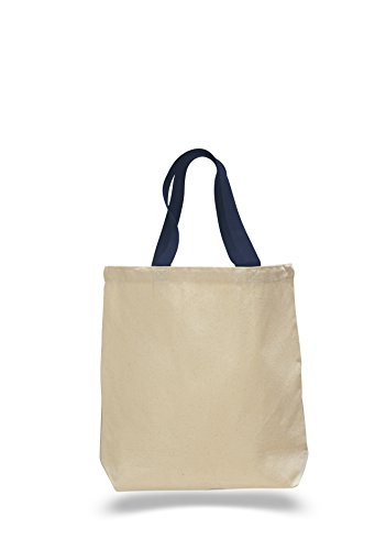 BagzDepot 100% Cotton Canvas Promo Tote Bag With Heavy Canvas Colored Web Handles (18, ()