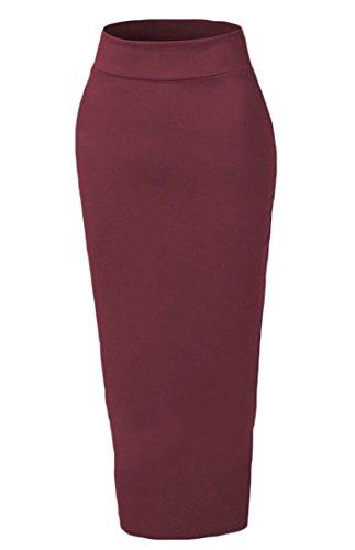 Generic Women's Muslim Elastic Waist Ankle Length Pencil Bodycon Skirt Wine Red XS by GenericWomen