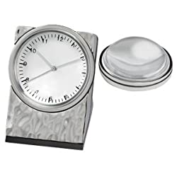 Hammered Clock w Magnifier in Silver