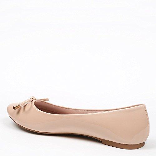 Ideal Shoes–Ballerinas, Lackschuhe, in Farbe, Tahani Beige