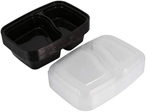 10 Pcs 2 compartimentos Bento box de plástico microondas ...
