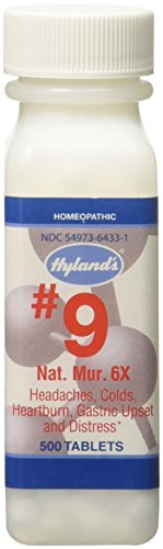 Hyland's Cell Salts #9 Natrum Muriaticum 6X Tablets, Natural Homeopathic Relief of Headache & Indigestion, 500 Count