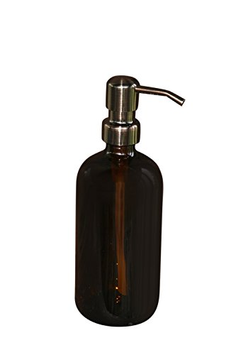 Industrial Rewind Amber 8oz Glass Soap Dispenser with Bronze
