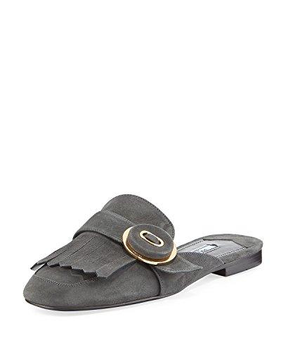 Prada Suede Kiltie Fringed Flat Mule Loafer Shoes 39 Grey ()