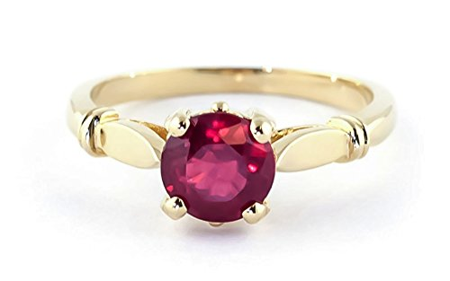 Yellow Solitaire Gold Solid 14k (14K Solid White Rose Yellow Gold Solitaire Natural Ruby Ring 2 carat (yellow-gold, 5.5))