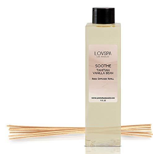 Scented Room - LOVSPA SOOTHE Tahitian Vanilla Reed Diffuser Oil Refill and Replacement Reed Sticks | SOOTHE | Vanilla, Amber & Tonka Bean Fragrance Oil | Soothing Scent for Kitchen & Bathroom, 4 oz | Made in the USA