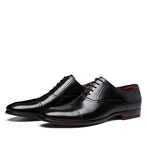 Full Grain Leather Business Dress Shoes Men Retro Oxford Shoes Black 8.5