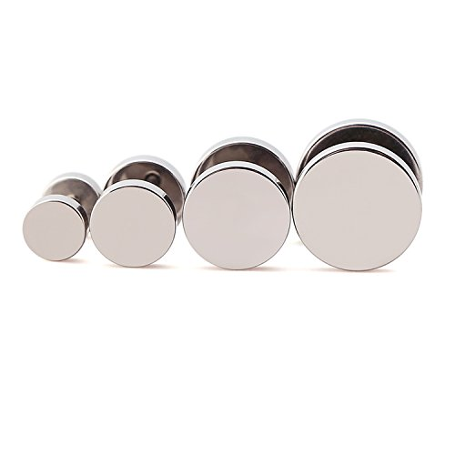 4 Pairs 6mm-12mm Stainless Steel Men Women Unisex Fake Ear Plugs Stud Earrings Ear Plugs Tunnel Gauges Illusion Screw Earrings (sliver4pairs)