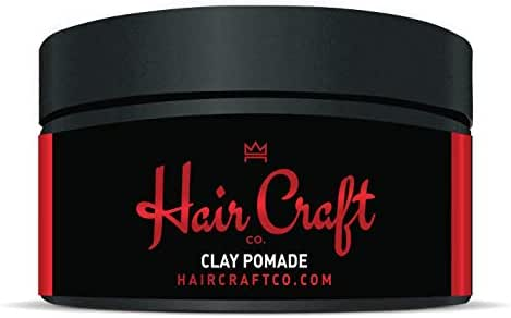 Hair Craft Co. Clay Pomade 3oz - Shine Free Matte Finish - Medium Hold/Natural Look – Best Men's Styling Product, Barber Approved – Ideal for Textured, Thickened & Modern Hairstyles – Unscented