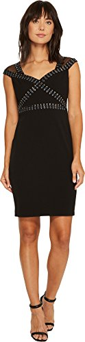 Embellished Sheath (Sangria Women's Cap Sleeeve Embellished Crepe Sheath Black/Putty 12)