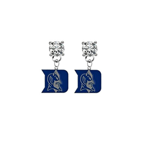 Duke Blue Devils Clear Crystal Stud Post Dangle Earrings (Watch Devils Womens Blue Duke)