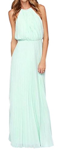 Womens LightBlue Sleeveless Dress Dress Chiffon Prom Evening Solid Maxi Party Long Domple pwdRxaqCnR