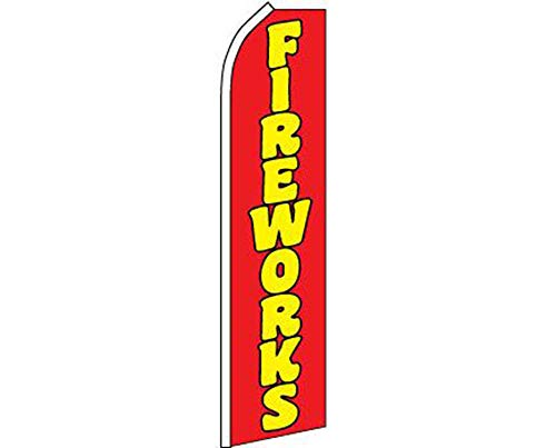 ALBATROS Fireworks Red Yellow Swooper Super Feather Advertising Flag for Home and Parades, Official Party, All Weather Indoors Outdoors]()