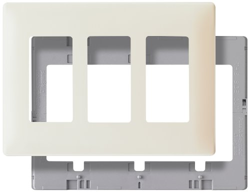(Legrand - Pass & Seymour SWP263LABPCC10 Screw Less Wall Plate Plastic Sub Plate Three Gang Light, Almond)