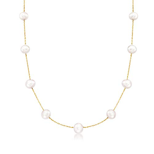 (Ross-Simons 6-6.5mm Cultured Pearl Station Necklace in 14kt Yellow Gold )