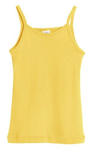 Tank Appeal - City Threads Big Girls' Cotton Camisole Cami Tank Top T-Shirt Tee Tshirt Spaghetti Straps Summer Play School Sports Sensitive Skin SPD Sensory Sensitive Clothing - Yellow - 7