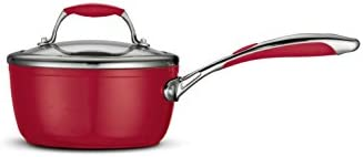Tramontina 80110 062DS Gourmet Ceramica Deluxe Covered Sauce Pan, PFOA- PTFE- Lead and Cadmium-Free Ceramic Exterior Interior, 1.5-Quart, Metallic Red, Made in Italy