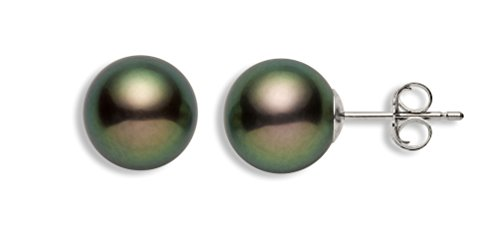 14k Gold AAA Quality Black Freshwater Cultured Pearl Stud Earrings