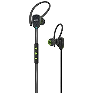 JAM Transit Micro Sport Buds Mini Wireless Bluetooth Earbuds, 10 Hour Playtime, Perfect for Running, Gym, Workout, Hands Free Calling Controls with Mic, Waterproof, Reflective Cord, HX-EP510GR Green