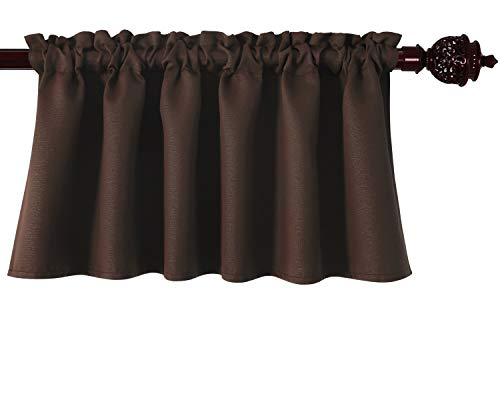 - Deconovo Textured Embossed Blackout Curtains Rod Pocket Valance Curtains for Kitchen 52x18 Inch Chocolate 1 Panel