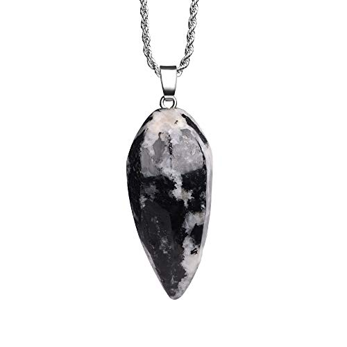 - iSTONE Natural Gemstone Zebra Jasper Irregule Bullet Shape Healing Crystals Chakra Stones Stainless Steel Chain 24 Inch