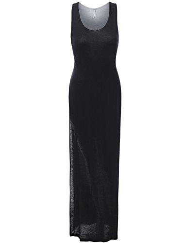 J.TOMSON Womens Scoop Neck Sleeveless Jersey Maxi Dress BLACK MEDIUM