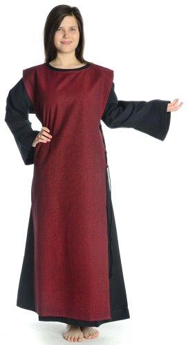 schwarz Leinenstruktur Skapulier dunkelrot Baumwolle mit mit S Mittelalter Kleid Damen Damenkleid HEMAD XL schwarz xXv7aq