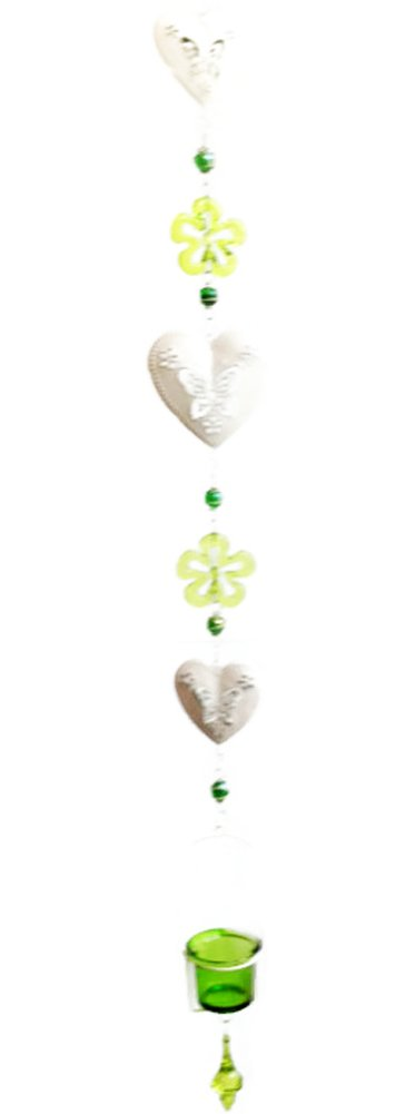 Thai Handmade - Long Garden or Indoor Mobile / Origami / Hanging / Swirl - Green Flowers and Hearts with Green Candle Bowl