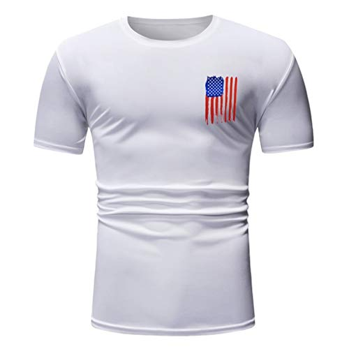 YOCheerful Men Summer T-Shirts Slim Fit Short Sleeve Flag Printed O-Neck T-Shirt Tops 4th of July Blouses(White, 2XL)]()