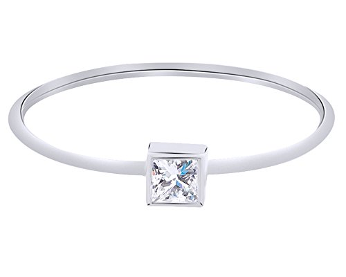 Princess Cut 0.1 Ct White Diamond Princess Square Band Rind Ring In 14K Solid (0.1 Ct Princess Diamond)