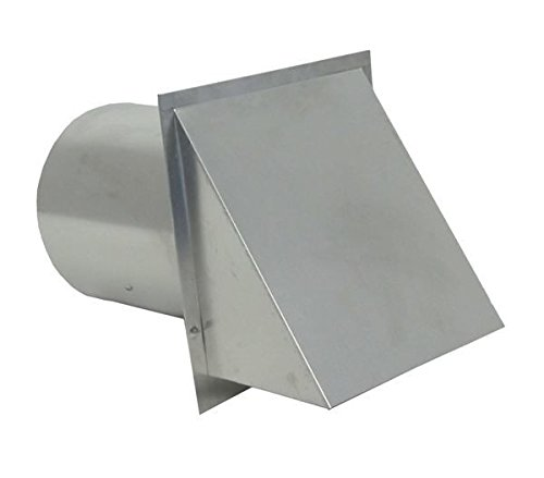 Air Vent Fresh Fireplace - Hooded Wall Vent with Screen - Galvanized 4 inch