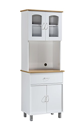 Hodedah Long Standing Kitchen Cabinet with Top & Bottom Enclosed Cabinet Space, One Drawer, Large Open Space for Microwave, White (Vitrinas De Madera)