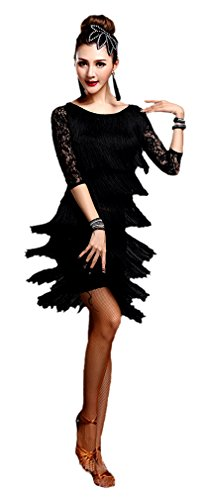 [Honeystore Women's 1920 Latin Top and Skirt Set Lace Tiered Tassel Dance Costume Black L] (New Year Costumes)
