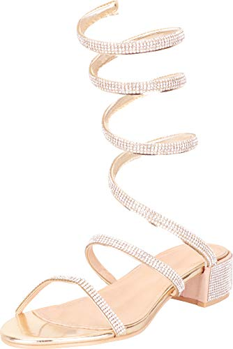 (Cambridge Select Women's Coil Spiral Wraparound Ankle Crystal Rhinestone Chunky Block Heel Sandal,8.5 B(M) US,Gold)