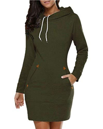 Celmia Women Long Sleeve Slim Hooded Pullover Zipper Tunic Sweatshirt Dress Hoodie With Pockets Army Green ()