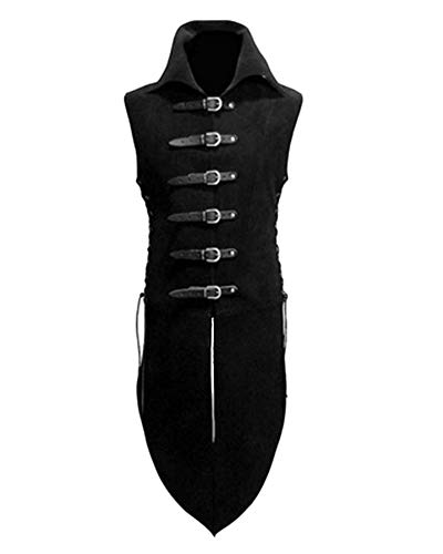 Mens Medieval Leather Buckle Knight Fancy Standing Collar Dress Sleeveless Shirt Top Costume Vest Black S