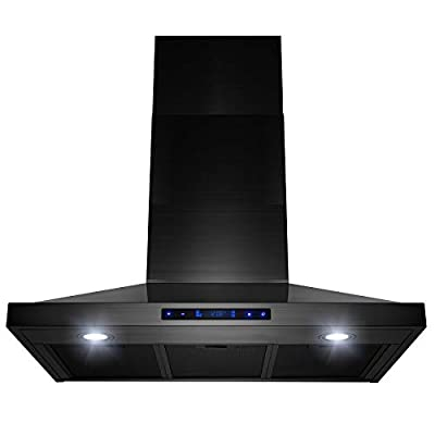 """AKDY 30"""" Wall Mount Black Brushed Stainless Steel Touch Panel Kitchen Range Hood Cooking Fan"""