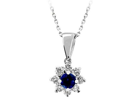 Pendentif Saphirs et Diamants-Femme- or Blanc 204P0033
