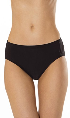 (MZ607) Mazu Swim Mid Waist Brief with Power Mesh Panel (8-16) in Black Size: 14