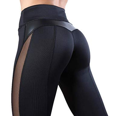 ZML Frauen High Rise Patchwork Yoga Pants Heart Mesh Running Fitness Tights Activewear Quick Dry Butt Lift Micro-elastische Slim, Schwarz,XL