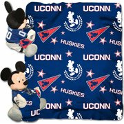 NCAA Connecticut Huskies Dis-Col Hugger W/ 40X50 Fleece Throw Blanket, One Size, Blue (Connecticut Pillow Huskies)